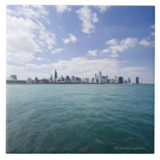 Skyline of Chicago from Lake Michigan, Illinois, Large Square Tile