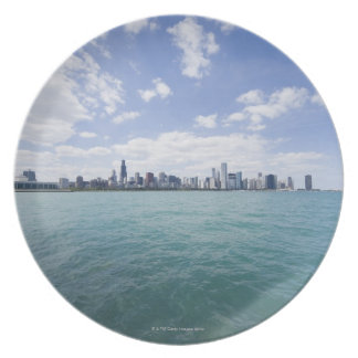 Skyline of Chicago from Lake Michigan, Illinois, Plate