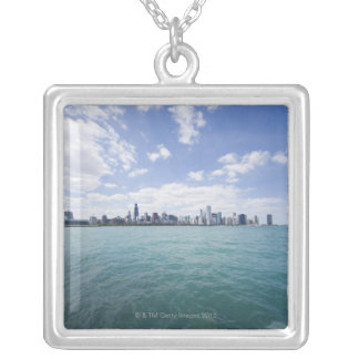 Skyline of Chicago from Lake Michigan, Illinois, Silver Plated Necklace
