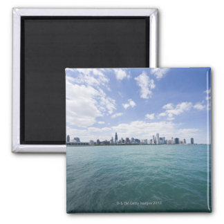 Skyline of Chicago from Lake Michigan, Illinois, Square Magnet