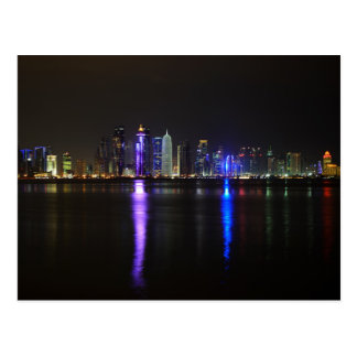 Skyline of Doha, Qatar at night postcard