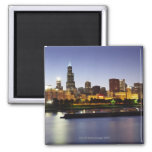 Skyline of downtown Chicago at dusk