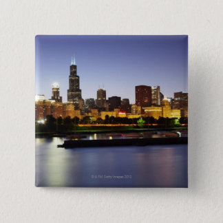 Skyline of downtown Chicago at dusk 15 Cm Square Badge