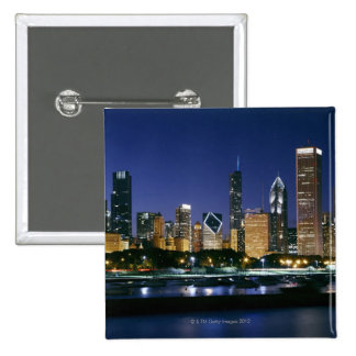 Skyline of Downtown Chicago at night 15 Cm Square Badge