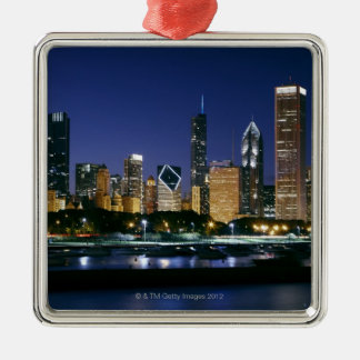 Skyline of Downtown Chicago at night Christmas Ornament
