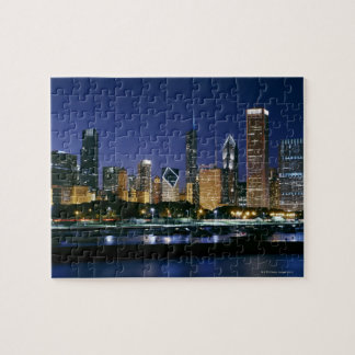 Skyline of Downtown Chicago at night Jigsaw Puzzle