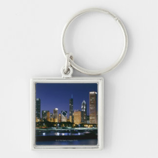Skyline of Downtown Chicago at night Key Ring