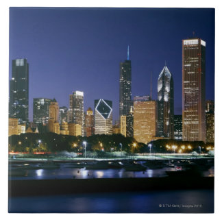 Skyline of Downtown Chicago at night Large Square Tile