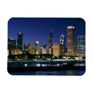 Skyline of Downtown Chicago at night Magnet