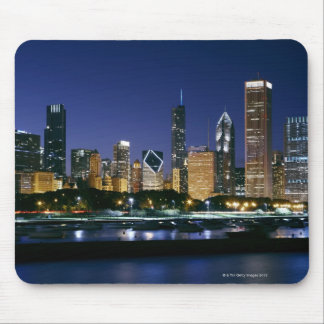Skyline of Downtown Chicago at night Mouse Mat