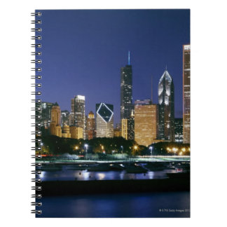 Skyline of Downtown Chicago at night Notebook