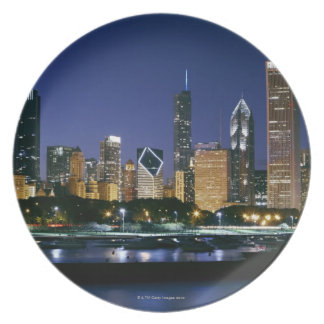 Skyline of Downtown Chicago at night Plate