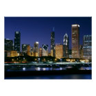 Skyline of Downtown Chicago at night Poster