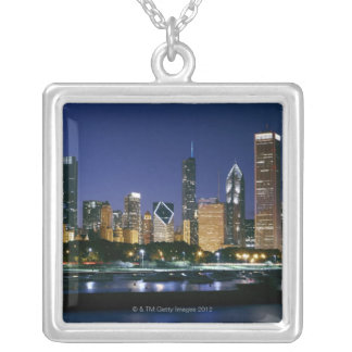 Skyline of Downtown Chicago at night Silver Plated Necklace