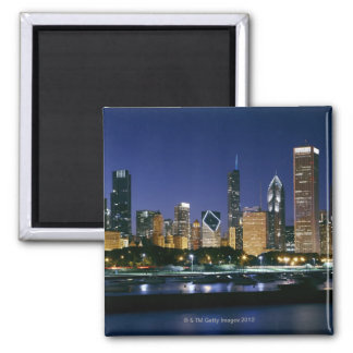 Skyline of Downtown Chicago at night Square Magnet