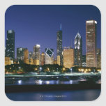 Skyline of Downtown Chicago at night Square Sticker