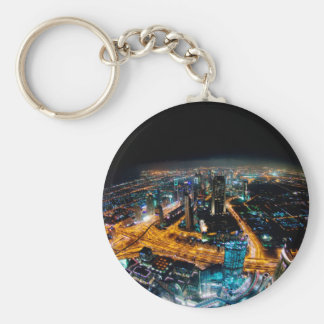 Skyline of Dubai Basic Round Button Key Ring