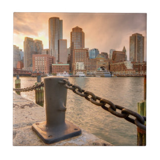 Skyline of Financial District of Boston Tile