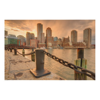 Skyline of Financial District of Boston Wood Canvas
