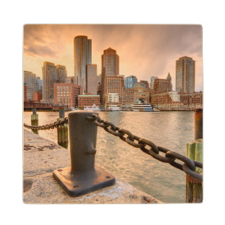 Skyline of Financial District of Boston Wood Coaster