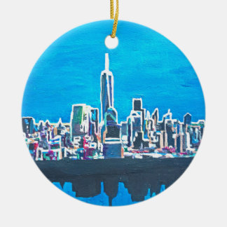 Skyline Of Manhattan New York City With Christmas Ornament