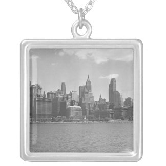 Skyline of Manhattan New York USA B&W Silver Plated Necklace