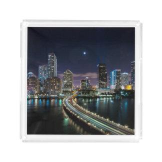 Skyline of Miami city with bridge at night Acrylic Tray