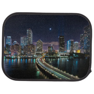 Skyline of Miami city with bridge at night Car Mat