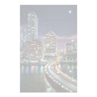 Skyline of Miami city with bridge at night Customised Stationery