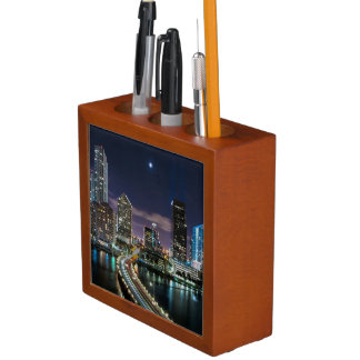 Skyline of Miami city with bridge at night Desk Organiser