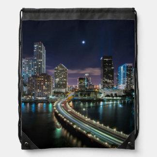 Skyline of Miami city with bridge at night Drawstring Bag