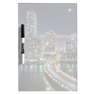 Skyline of Miami city with bridge at night Dry Erase Board