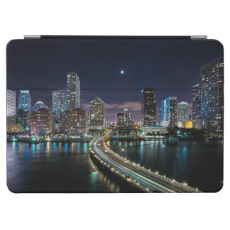 Skyline of Miami city with bridge at night iPad Air Cover