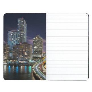 Skyline of Miami city with bridge at night Journal