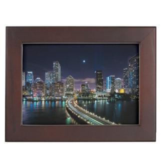 Skyline of Miami city with bridge at night Keepsake Box