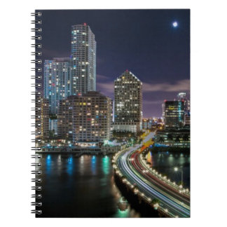 Skyline of Miami city with bridge at night Notebooks