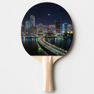 Skyline of Miami city with bridge at night Ping Pong Paddle