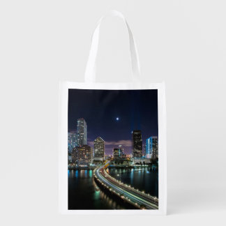 Skyline of Miami city with bridge at night Reusable Grocery Bag