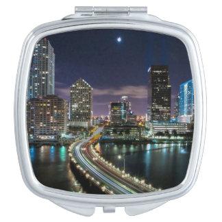 Skyline of Miami city with bridge at night Travel Mirror