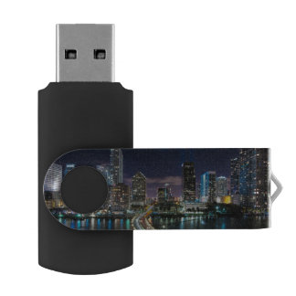 Skyline of Miami city with bridge at night USB Flash Drive