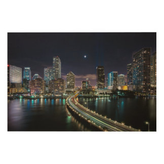 Skyline of Miami city with bridge at night Wood Wall Art