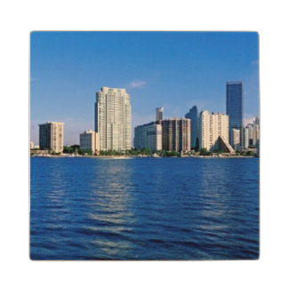 Skyline of Miami, Florida Wood Coaster