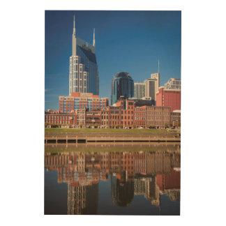 Skyline Of Nashville, Tennessee Wood Prints