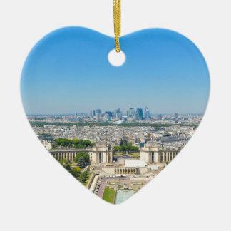 Skyline of Paris Ceramic Heart Decoration