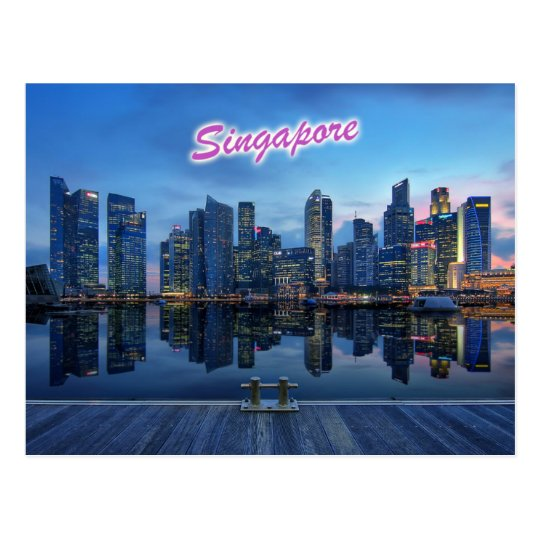 Skyline of Singapore's Central Business District Postcard