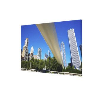 Skyline of Skyscrapers and footbridge at Canvas Print