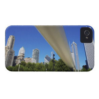Skyline of Skyscrapers and footbridge at iPhone 4 Cases