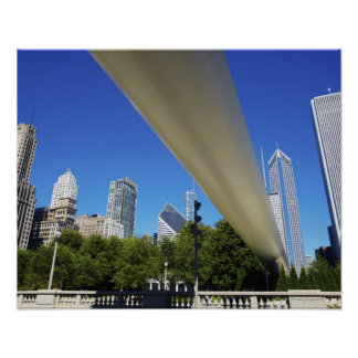 Skyline of Skyscrapers and footbridge at Poster