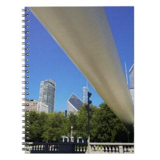 Skyline of Skyscrapers and footbridge at Spiral Notebook