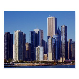 Skyline of Skyscrapers in downtown Chicago Poster